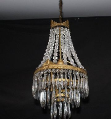 VINTAGE EMPIRE CHANDELIER FRENCH GLASS TENT & WATERFALL CEILING LIGHT - Ref: AAG21